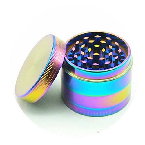 KXN New Rainbow 4 Pieces Metal Aluminum Alloy Spice Herb Grinder,Weed Grinder, Colorfu Tobacco Crusher Accessories, Razor-sharp Teeth (40mm/1.5inch)