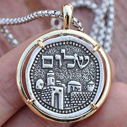 Mens Necklace | Candle Holder Pendant | Hebrew Israel Shekel Emblem Religious Jewelry ()