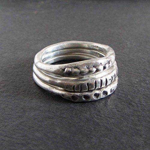 ed611978e43 Image Unavailable. Image not available for. Color: Organic stacking ring  set/Rustic artisan jewelry ...