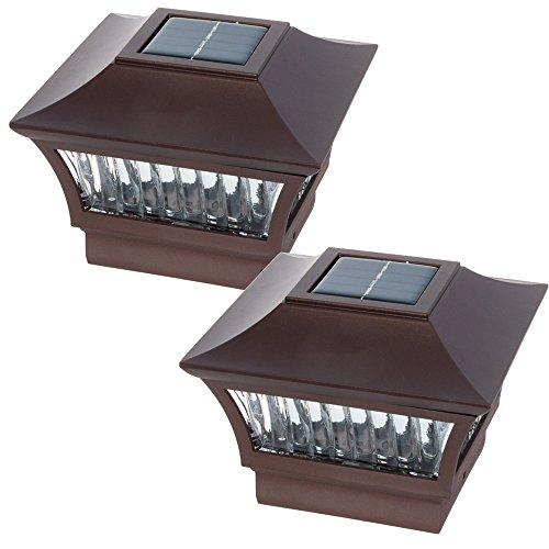 GreenLighting Aluminum Solar Post Cap Light 4x4 Wood or 5x5 PVC (Bronze, 2 Pack) by GreenLighting