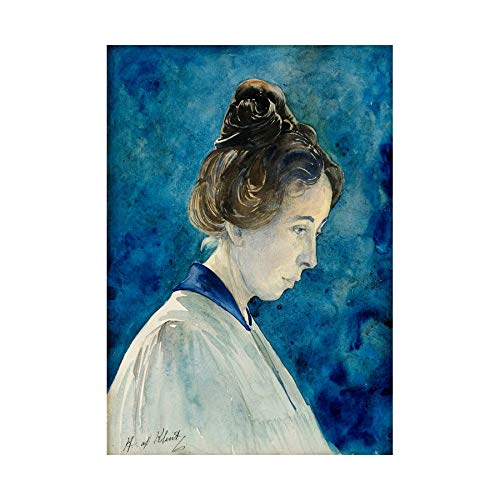 Painting Blue Hilma Af Klint Self Portrait Wall Art Print ペインティング青ポートレート壁