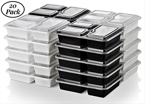 Energy Amazon Diet (Better & Different Meal Prep Containers 20 Pack | 32 Oz | 3 Compartments Secured Lids, Plastic Food Storage Bento Boxes, BPA Free, Microwave & Dishwasher Safe | For 21 Day Fix Diet & Portion Control)