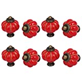 uxcell Home Office Furniture Ceramic Pumpkin Shape Pull Handle Knob Red 8pcs