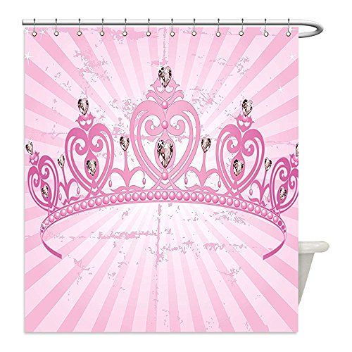Liguo88 Custom Waterproof Bathroom Shower Curtain Polyester Queen Childhood Theme Pink Heart Shaped Princess Crown on Radial Backdrop Girls Room Pink Light Pink Decorative (Queen Of Hearts Diy Costume Ideas)