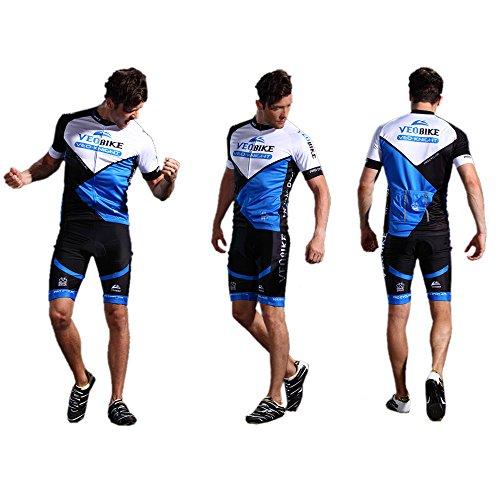 Asvert Malliot de Ciclismo Hombre 3D Cojín Manga Corta Jersey + Pantalones Ropa de Bicicleta Verano Conjunto Ciclista Elástica Equipación Bicicleta ...