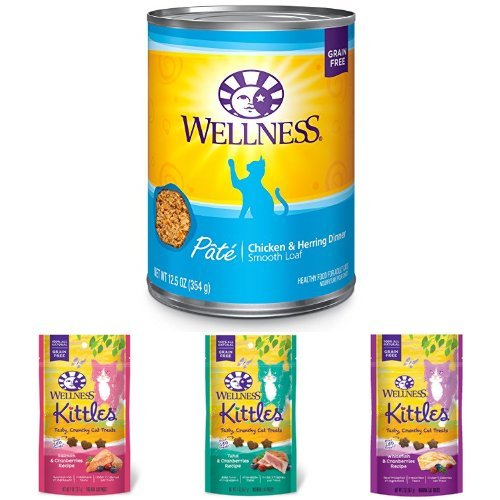 Wellness Natural Grain Free Wet Canned Cat Food, Chicken & Herring Pate, 12.5-Ounce Can (Pack of 12) with Wellness Kittles Crunchy Natural Grain Free Cat Treats, 2-Ounce Bag (3 Bag Variety)