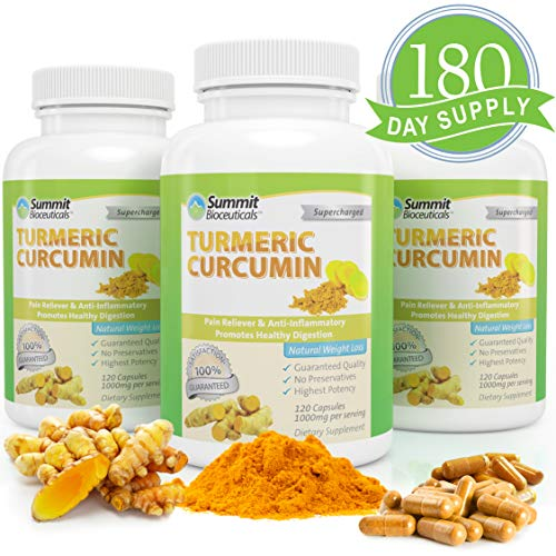 Summit Bioceuticals Turmeric Curcumin Supplements with Bioperine Black Pepper Capsules-Natural Anti Inflammatory Joints Pain Support Relief-Tumeric Curcuma Extract Supplement 1000mg 180-Day Supply