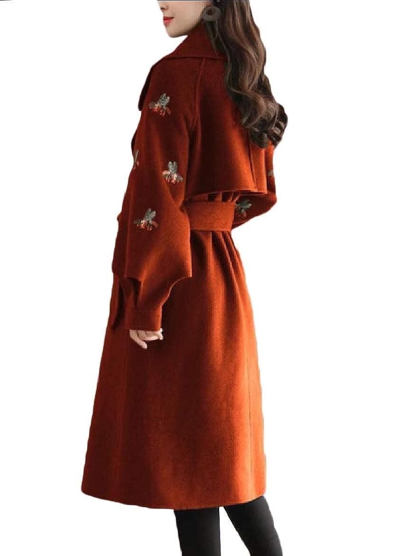 YUNY Womens Notch Collar Long Fitted Double Button Wool Woolen Coat XL