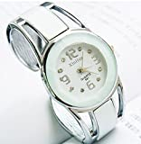 ELEOPTION® Bracelet Design Quartz Watch with Rhinestone Dial Stainless Steel Band Free women's Watch Box (White)