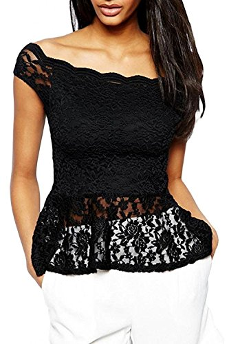 O&W Womens Black Solid Brief Short Sleeve Sheer Transparen Bodycon Off-Shoulder Lace Peplum Top for Women M