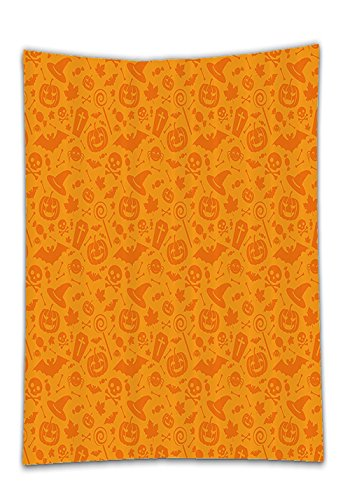 Chaoran Tablecloth Halloween Decorations Set By Monochrome Design With Traditional Halloween Themed Various Objects Celebration Day Bathroom Accessories W X L Orange Holiday Home (Halloween Themed Manicure)