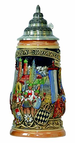 German Beer Stein Oktoberfest Munich bavaria Stein 1 liter tankard, beer mug - Bavaria Stein