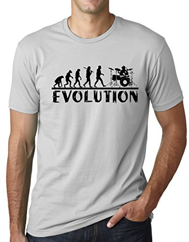 Think Out Loud Apparel Drummer Evolution Funny T-Shirt Musician Drums Humor Tee Gray Medium ()