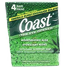 Coast Bar Soap Emerald Burst, 4 Count - 3.2 oz Bars with Moisturizing Aloe