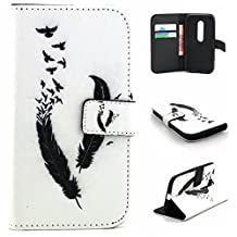 Moto G 3rd Gen Case,Gift_Source [Black Feather] [Wallet Function] [Stand Feature] Magnetic Snap Case Wallet Premium Wallet Case Flip Case Cover for Motorola Moto G3 (3rd Generation)