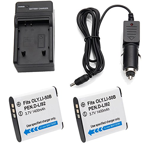 2x 1400mAh LI-50B D-LI92 Battery +Charger for Olympus SP-720UZ SP-800UZ SP-810UZ (Olympus Pentax Sp)