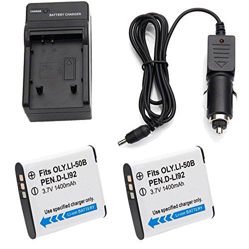 2x 1400mAh LI-50B D-LI92 Battery +Charger for Olympus SP-720UZ SP-800UZ SP-810UZ (Sp Pentax Olympus)