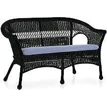 Easy Care Resin Wicker Love Seat, in Black