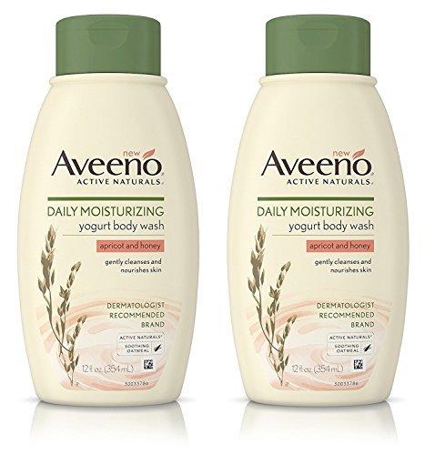 Aveeno Active Naturals Yogurt Body Wash - Apricot & Honey - Net Wt. 12 FL OZ (354 mL) Per Bottle - Pack of 2 Bottles