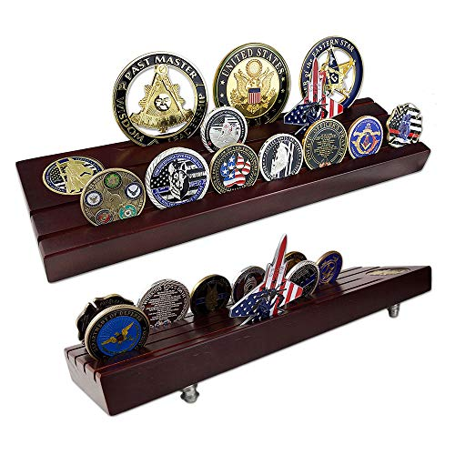 Coin Display Row (Indeep Military Challenge Coins Display Holder 4 Rows Wooden Coin Display Stand Rack for Collectibles)