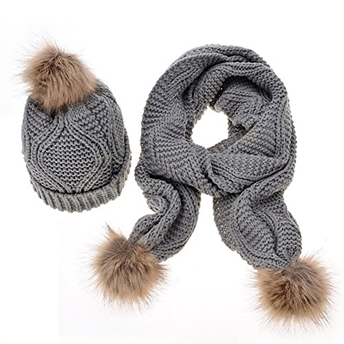- MINAKOLIFE Womens Stylish Cable Winter Warm Ski Slouch Pom Pom Hat Cap + Scarf Set Gray