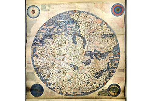 Reproductions Historical Map (World Map Historical Reproduction   Circular Planisphere   Depicts Asia, Africa & Europe   Inverted, South at Top   Created by Italian Cartographer Fra Mauro in 1450   Made to Order   24