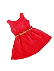 Vogholic Baby Girls Hollow Sleeveless Dress Red Dress Skirts Tutu Summer Dresses - XL