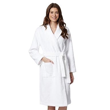 eaf65b376b JuneBloom Women s Men s Terry Cloth Robe 100% Cotton Bathrobe with Pockets  White XL