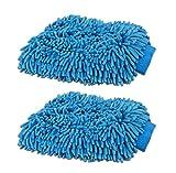 2 Pack Jumbo Blue Car Wash Washing Microfiber Chenille mitt Cleaning TKT-11