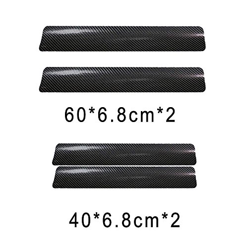 New Car Decorative Door Sill Scratch Protector A.S Auto Parts 3D Carbon Fiber Car Entry Door step Scratch Protector 4 Piece Sticker Set