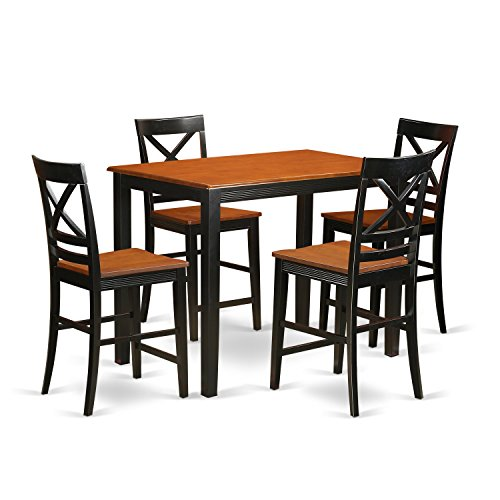 East West Furniture YAQU5-BLK-W 5 Piece Counter Height Pub Dining Table and 4 Chairs Set