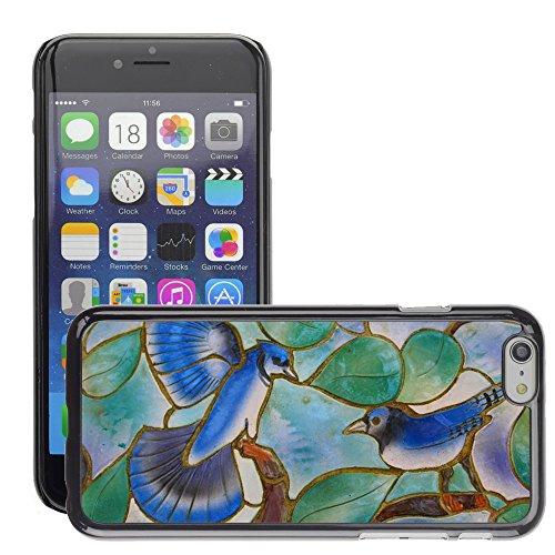 "Bild Hart Handy Schwarz Schutz Case Cover Schale Etui // M00134434 Glaskunstfenster Vögel Blaue Mosaik // Apple iPhone 6 PLUS 5.5"""