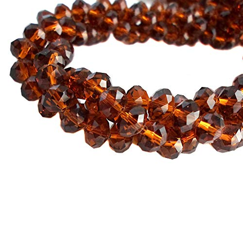 (BeadsOne 4mm - 450 pcs - Glass Rondelle Faceted Beads Topaz Brown for jewerly making findings handmade jewerly briolette loose beads spacer donut faceted Top Quality 5040 (C29))