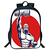 Pictures Print Design Black Double-deck Rucksack,Fitness,Muscular Man Lifting Barbells Body Builder Icon Strength Work Out Powerful,Silver Red White,for Kids,Comfortable Design.15.7''x 11.8''x 6.3''