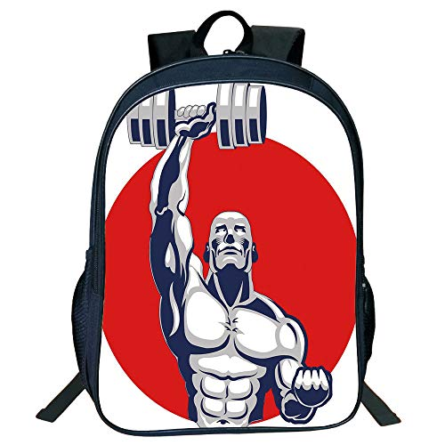 Pictures Print Design Black Double-deck Rucksack,Fitness,Muscular Man Lifting Barbells Body Builder Icon Strength Work Out Powerful,Silver Red White,for Kids,Comfortable Design.15.7''x 11.8''x 6.3'' by iPrint