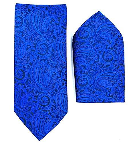 (Paisley Pattern Necktie Set (Royal/Black #2))