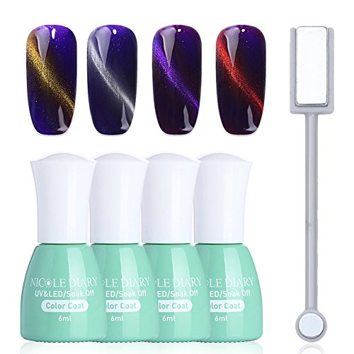 NICOLE DIARY 4 Bottles Magnet 3D Top Coat Gel Cat Eye Soak Off UV LED Gel Lacquer Polish Decoration + 1Pc Cat Eye Magnet Stick Tool Manicure Cat Eye Nail Kit by NICOLE DIARY