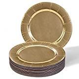 DISPOSABLE ROUND CHARGER PLATES - 20pc (Beaded/Gold)