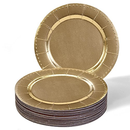 DISPOSABLE ROUND CHARGER PLATES - 20pc (Beaded/Gold) by Silver Spoons