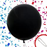 Mom's Favorite Baby Gender Reveal Balloon with Pink Confetti and Safety pin for Girl Jumbo 36'' Black Balloon