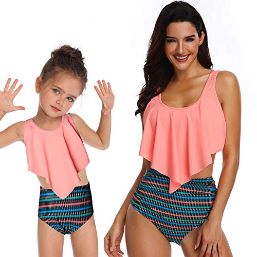 Mommy and Me Swimsuits Ruffled Tankini Top with High Waisted Bottom Womens Girls 2 Pcs Family Matching Swimwear