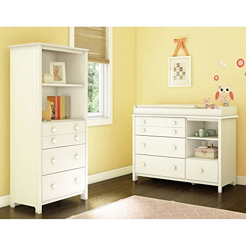 Little Smileys Changing Table with Removable Changing Station and Shelving Unit with Drawers by South Shore