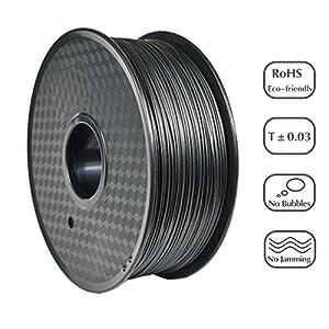 PRILINE carbon fiber PC 1KG 1.75 3D Printer Filament, Dimensional Accuracy +/- 0.03 mm, 1kg Spool, 1.75 mm,Black by PRILINE
