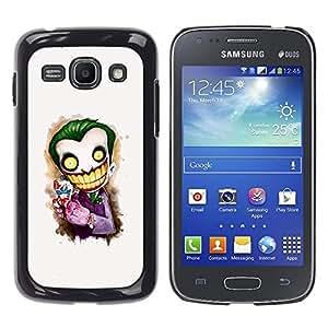 QCASE / Samsung Galaxy Ace 3 GT-S7270 GT-S7275 GT-S7272 / payaso asustadizo cara blanca grandes dientes esqueleto / Delgado Negro Plástico caso cubierta Shell Armor Funda Case Cover