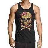 Camisetas de Tirantes para Hombre La calavera (Medium Negro Multicolor)