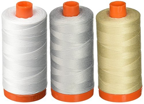 3-PACK - Aurifil 50WT - White + Dove + Light Beige, Solid - Mako Cotton Thread - 1422Yds EACH -