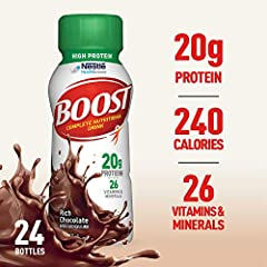 Key Benefits of BOOST High Protein Rich Chocolate Complete Nutritional 8 fl oz Drink: 240 Calories - To help you be up for anything 20 g High-Quality Protein - To help maintain muscle 26 Vitamins & Minerals - Nutrition you need each day C...