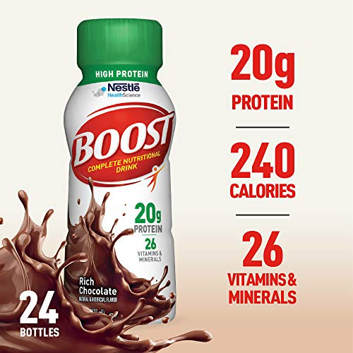 - Boost High Protein Complete Nutritional Drink, Rich Chocolate, 8 Ounce Bottle (Pack of 24) 20 Grams Protein