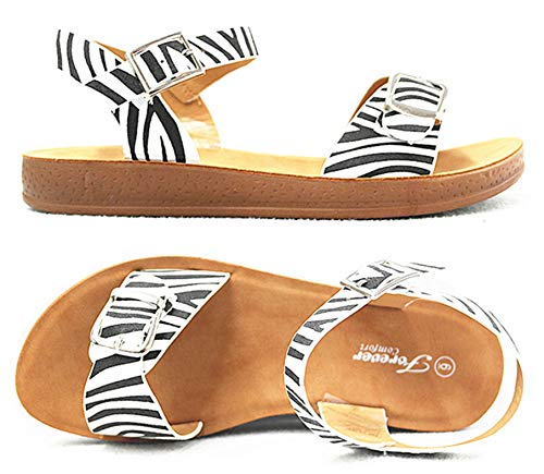 SF Women's Comfort Soft Strap Sling Flat Sandals (7.5 M US, Zebra-9)