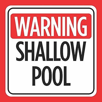 Amazon.com : Warning Shallow Pool Print Red White Black Caution ...